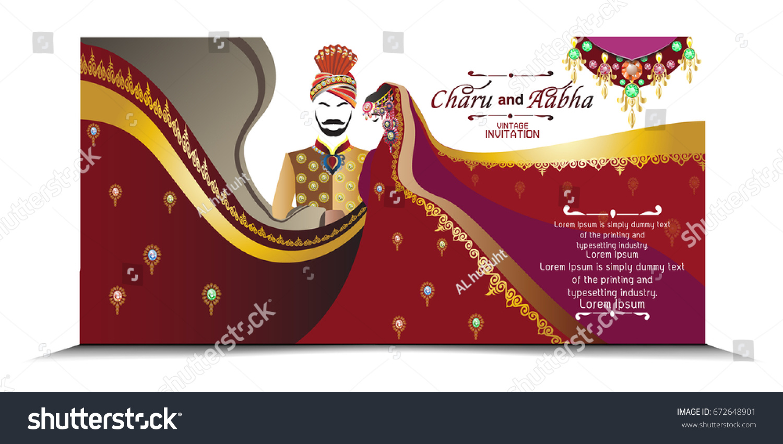 Indian Wedding Card Invitation Card All Vector 672648901 – All Indian Wedding Cards