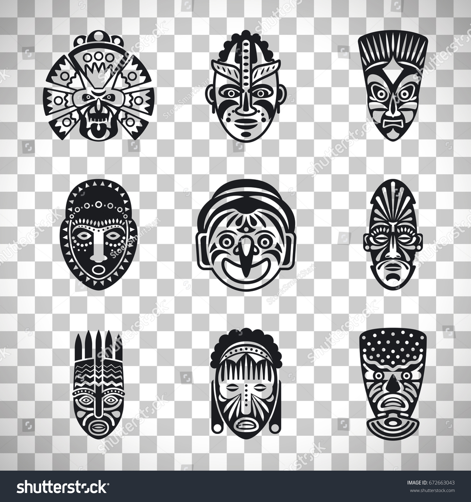 Tribal Mask Icons Ethnic Masks Vector Stock Vector Royalty Free