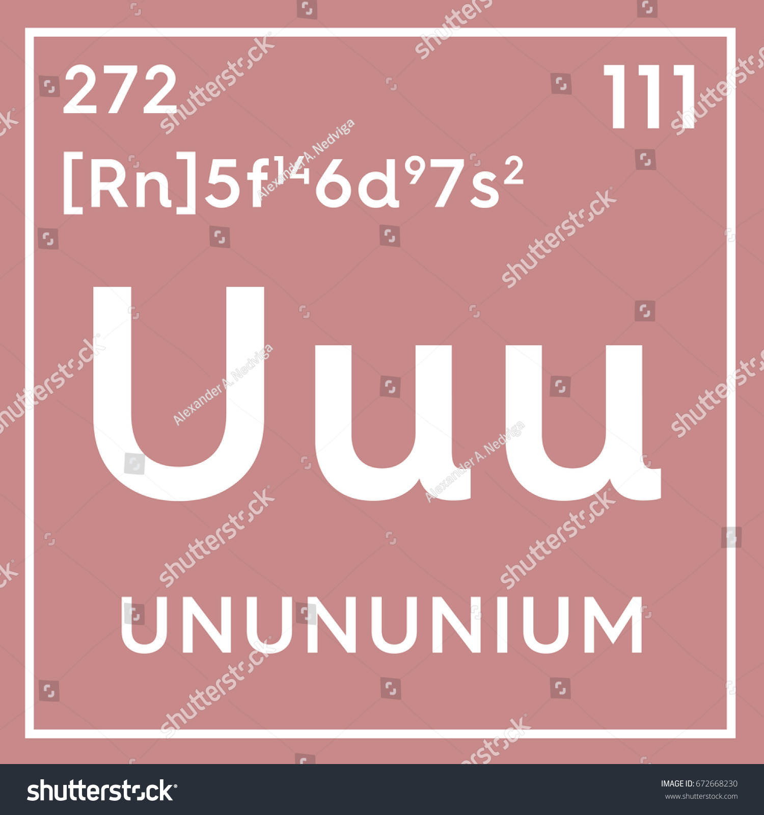 Unununium transition metals chemical element mendeleevs stock chemical element of mendeleevs periodic table unununium in square cube gamestrikefo Gallery