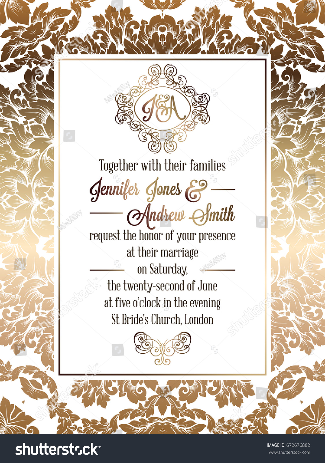 Vintage baroque style wedding invitation card em vetor stock vintage baroque style wedding invitation card template elegant formal design with damask background stopboris Image collections