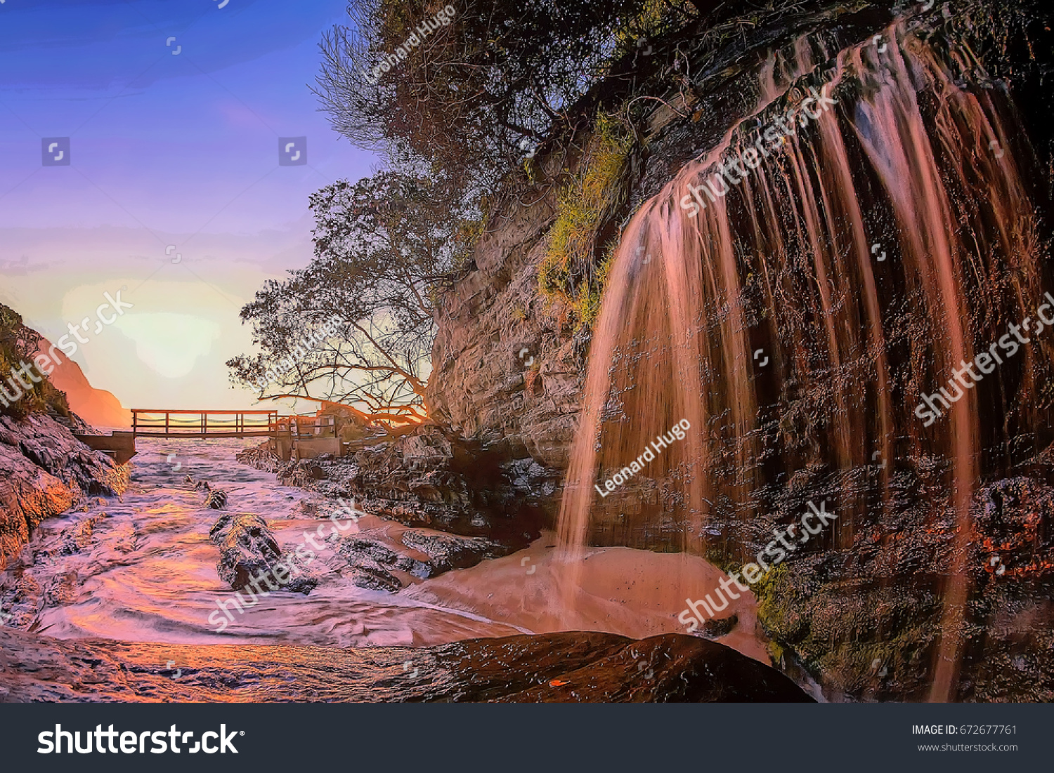 Pink Waterfall Sunrise Forest Garden Route Stock Illustration ...