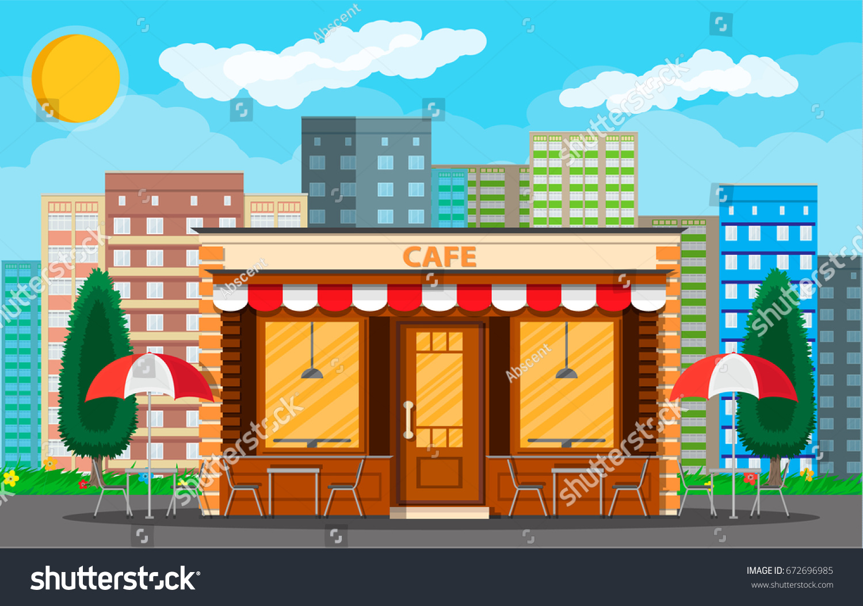 Vector De Stock Libre De Regalias Sobre Cafe Shop Exterior Street Restraunt Building672696985