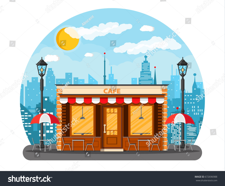 Vector De Stock Libre De Regalias Sobre Cafe Shop Exterior Street Restraunt Building672696988