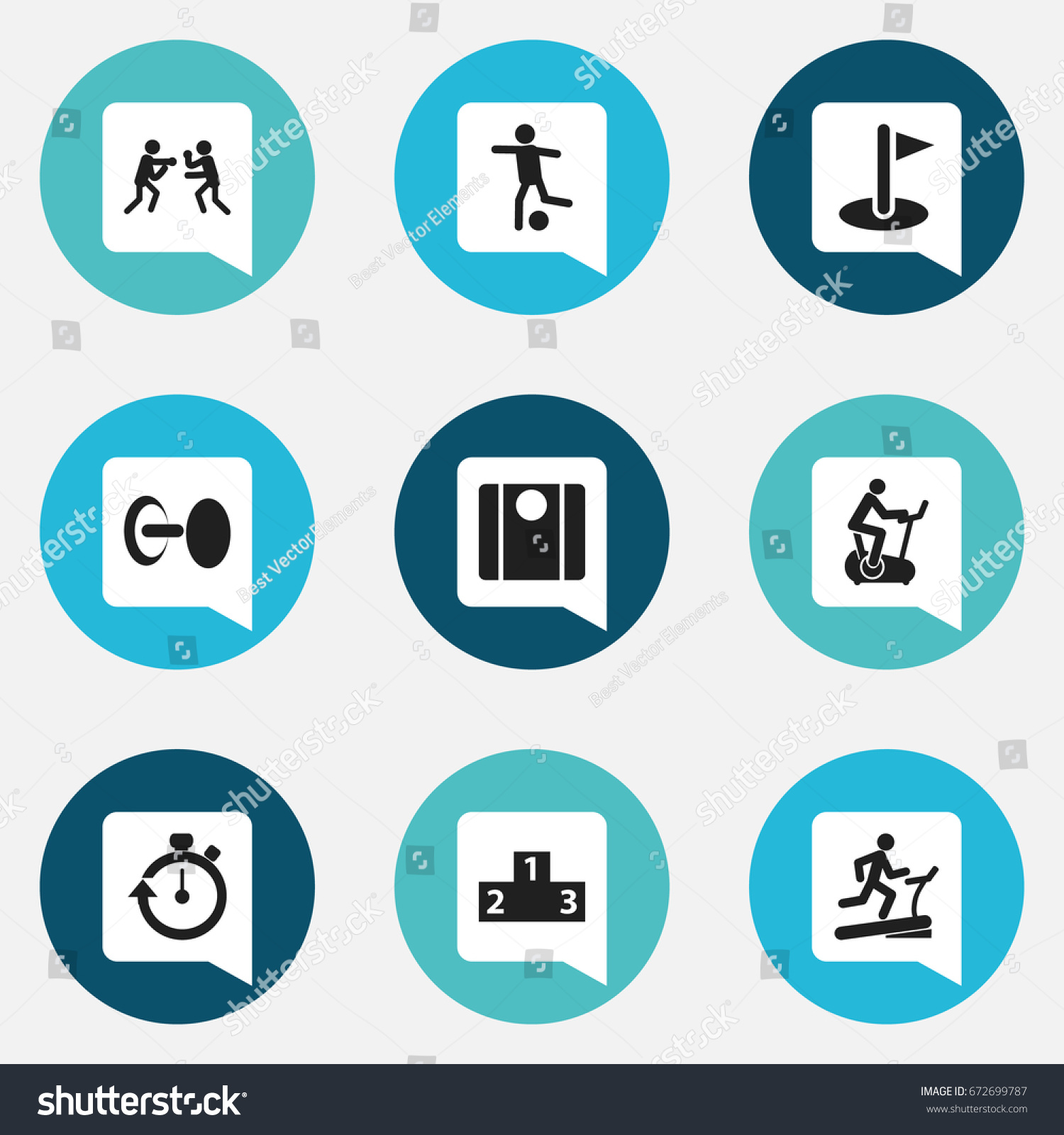 Set 9 Editable Fitness Icons Includes Stock Vector Royalty Free