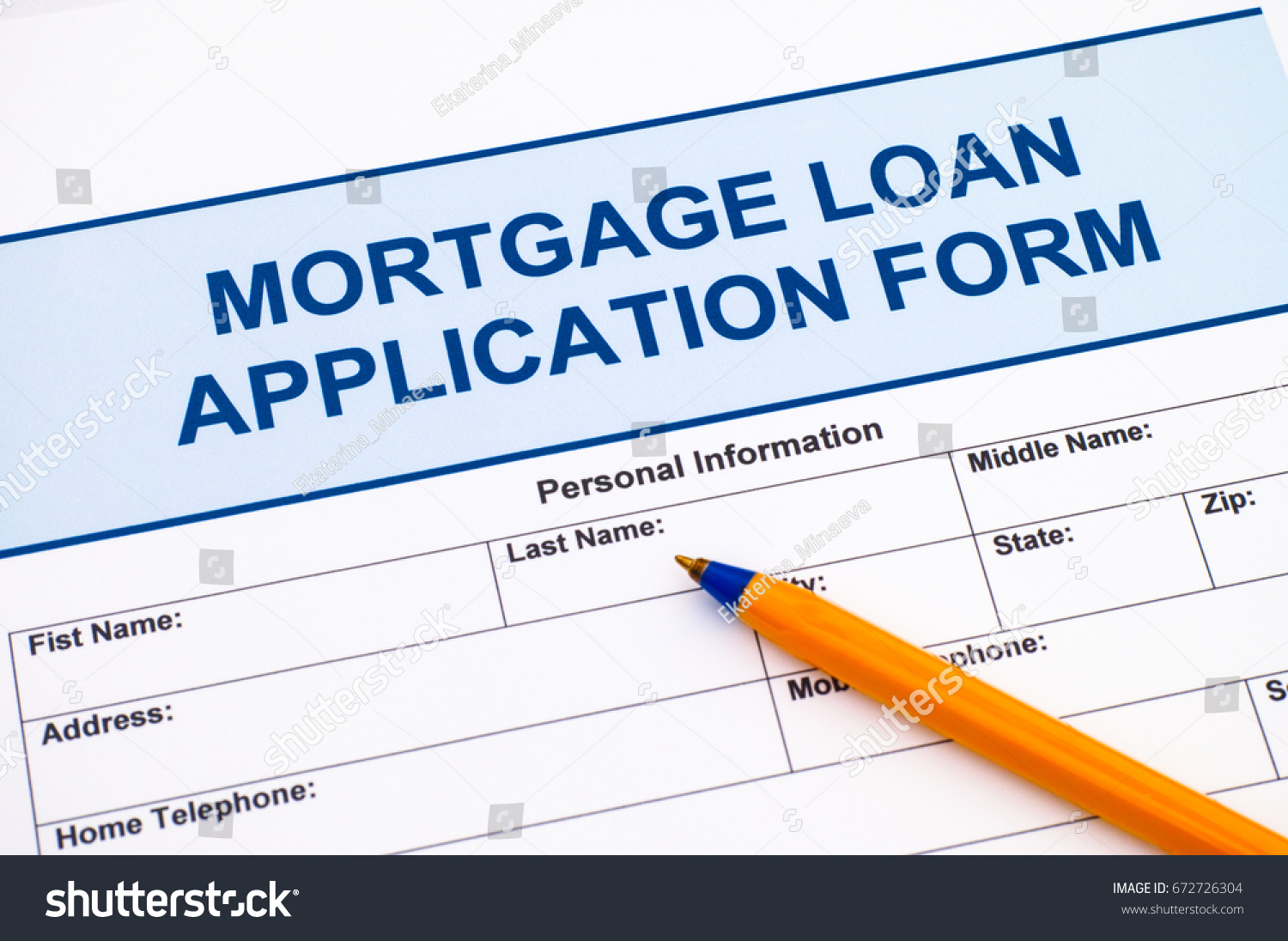 Mortgage Loan Application Form Ballpoint Pen Stock Photo Edit Now Diagram With