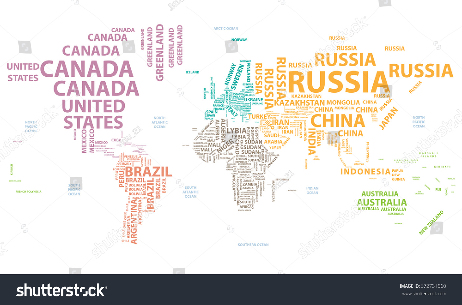 Vector World Map Country Names Typography Stock Vector 672731560