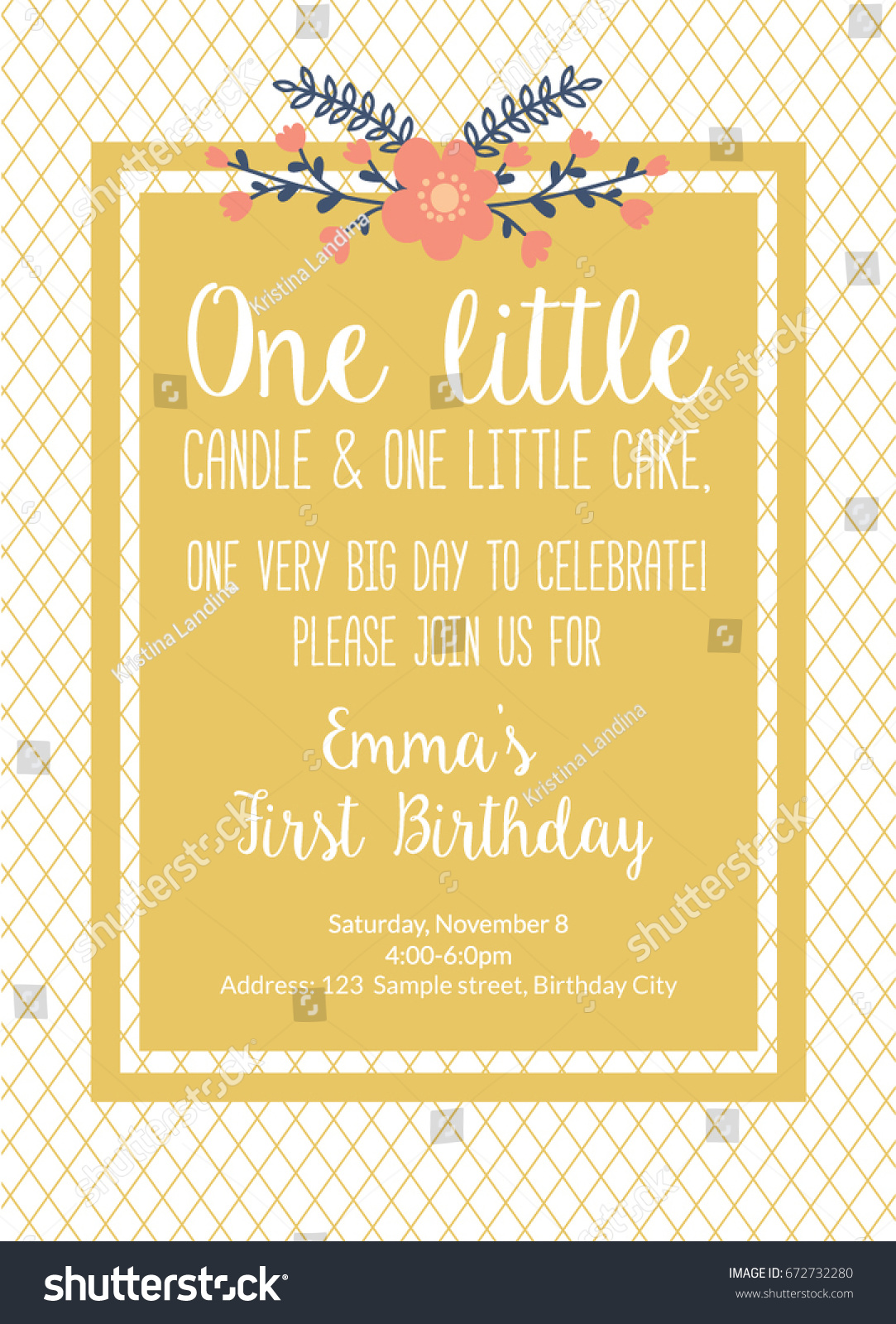 First Birthday Invitation Girl First Birthday Stock Vector 672732280 ...