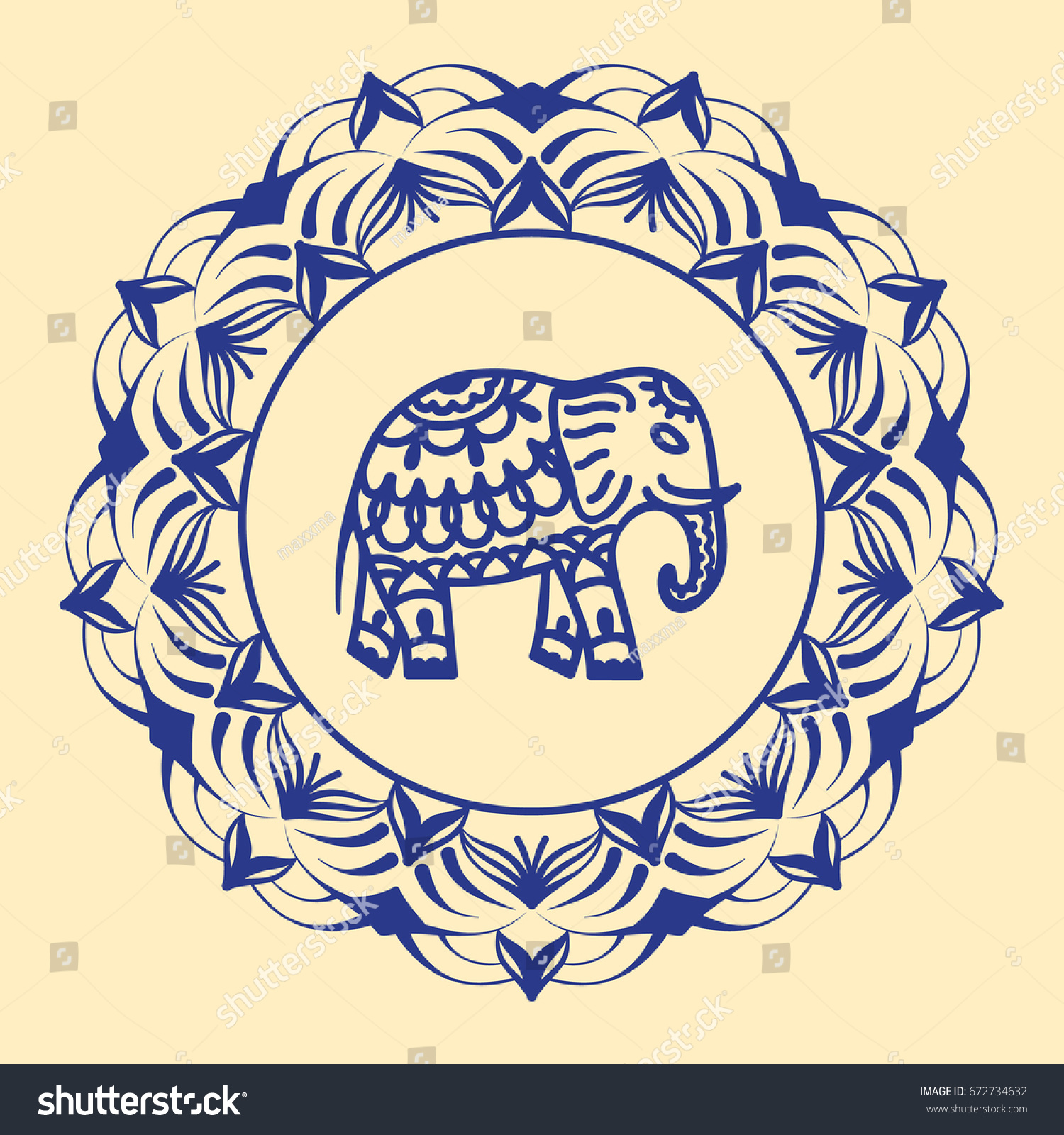 Hand Drawn Elephant Lotus Flower Mandala Stock Vector Royalty Free