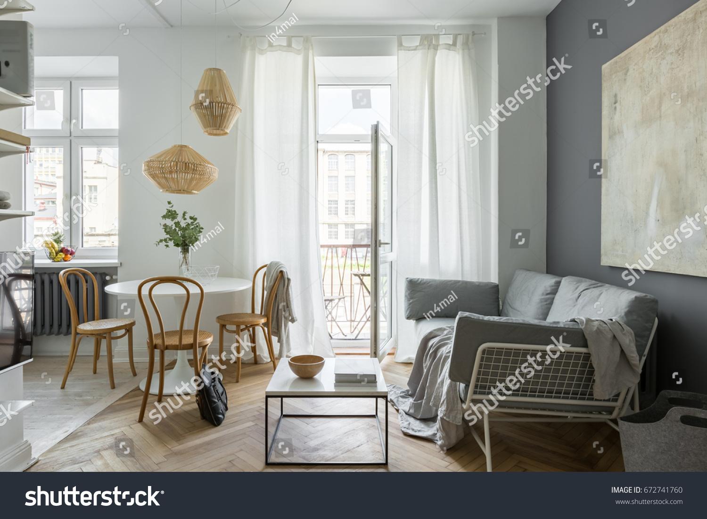 Living Room Round Table Sofa Balcony Stock Photo (Royalty Free ...
