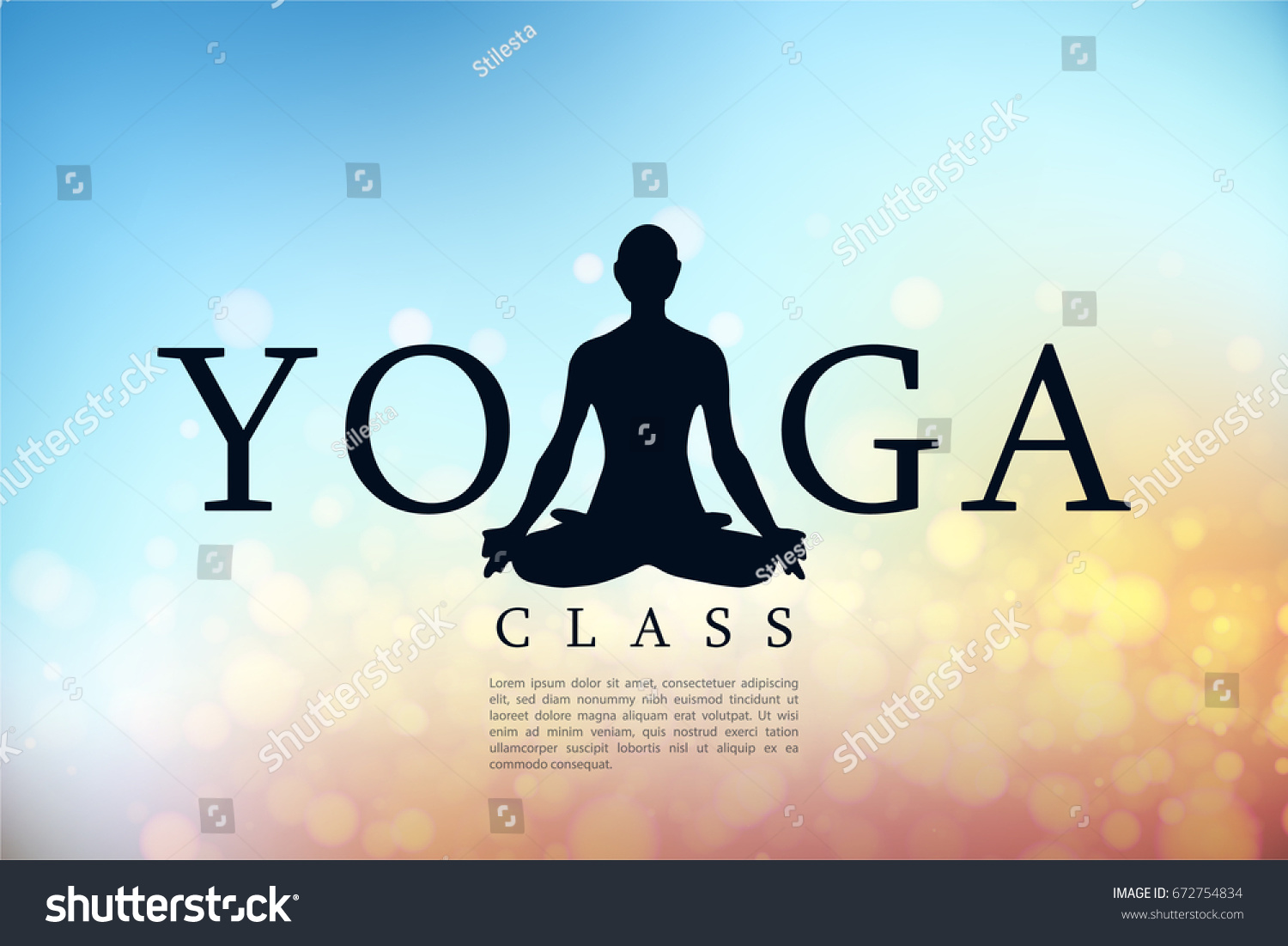 Yoga Class Banner Studio Sun Shine Stock Vector Royalty Free 672754834