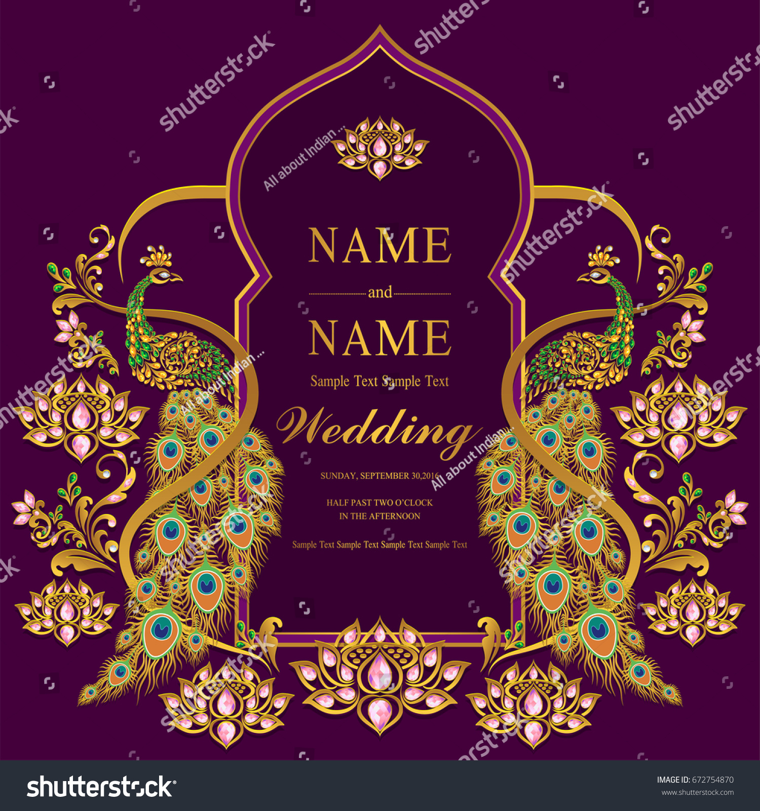 Wedding invitation card templates gold peacock stock vector wedding invitation card templates with gold peacock with lotus patterned and crystals color on paper maxwellsz