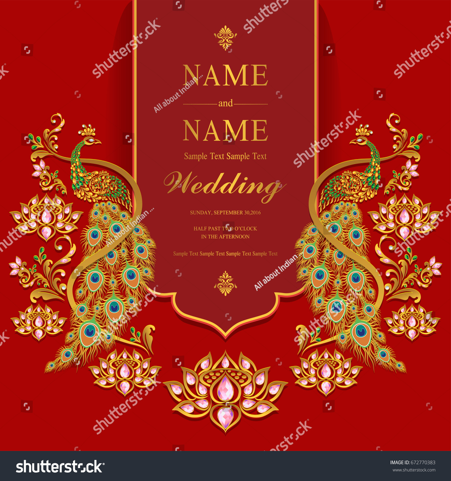 Wedding Invitation Card Templates Gold Peacock Image Vectorielle De
