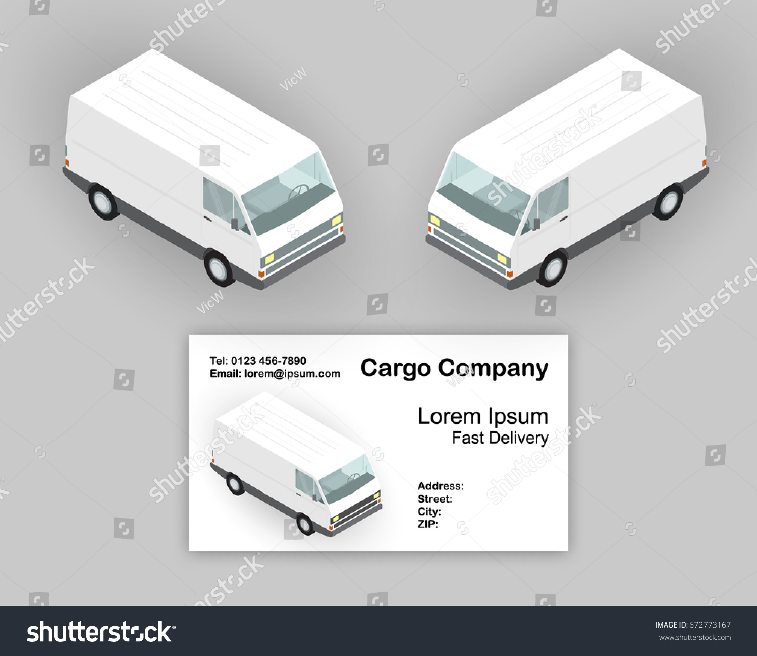 Isometric Delivery Vans Business Card Concept Stock Vector 672773167 ...