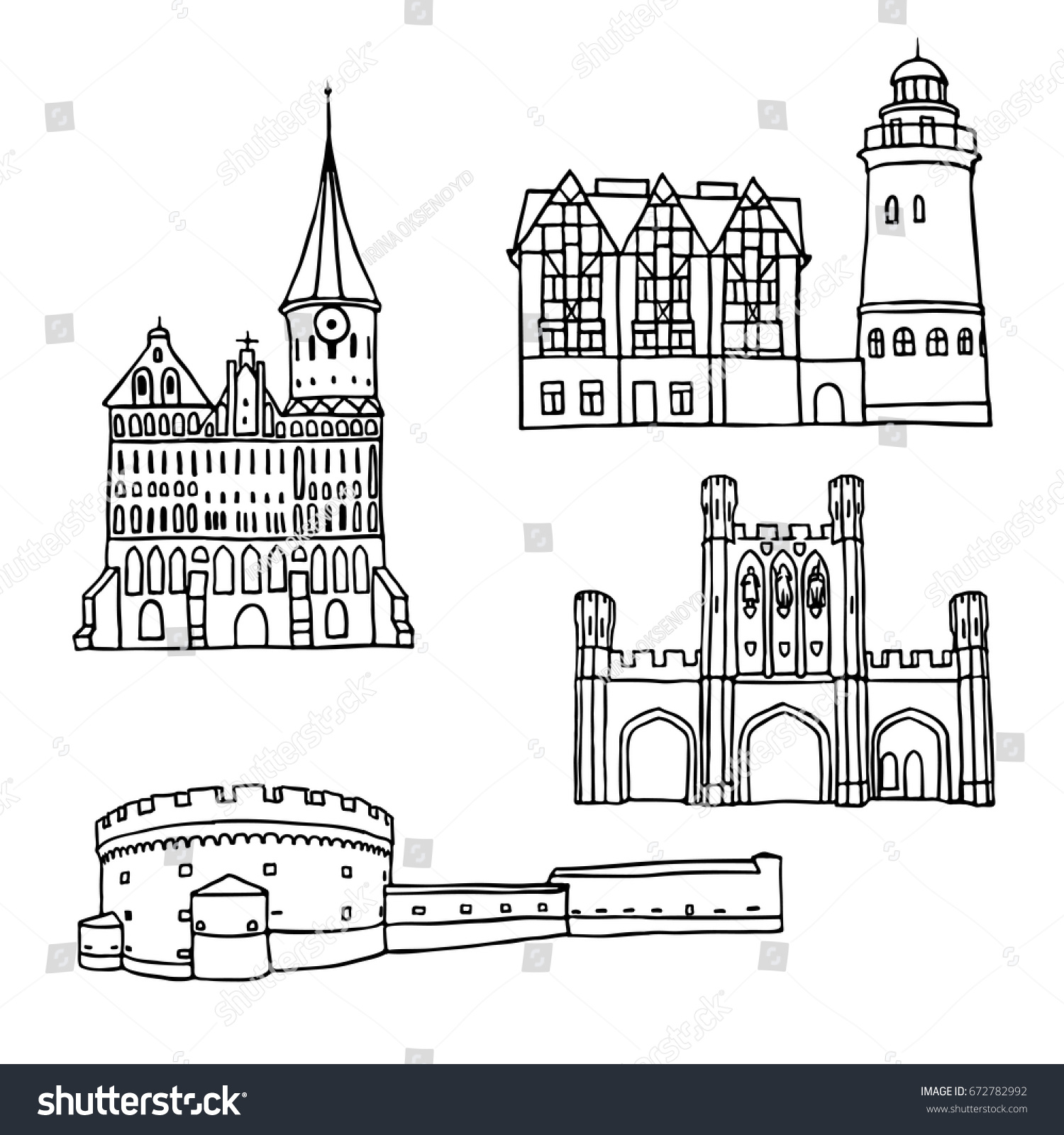 Black Pen Sketches And Silhouettes Of Famous Architecture Set The Landmarks Kaliningrad City