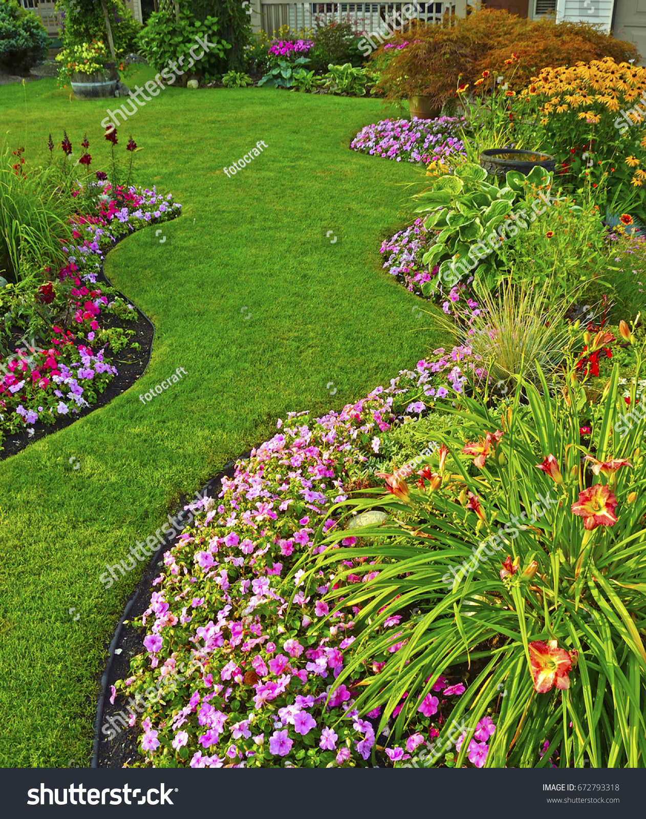 Beautiful garden twilight beautiful home garden stock photo safe to a beautiful home garden full of perennials and annuals izmirmasajfo