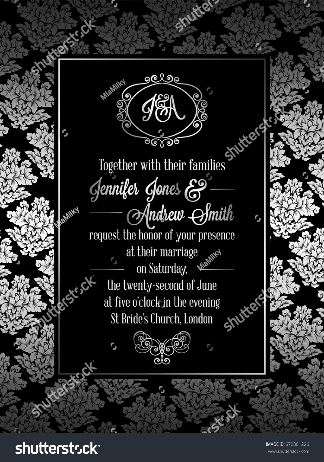 Vintage baroque style wedding invitation card stock vector vintage baroque style wedding invitation card template elegant formal design with damask background stopboris Choice Image
