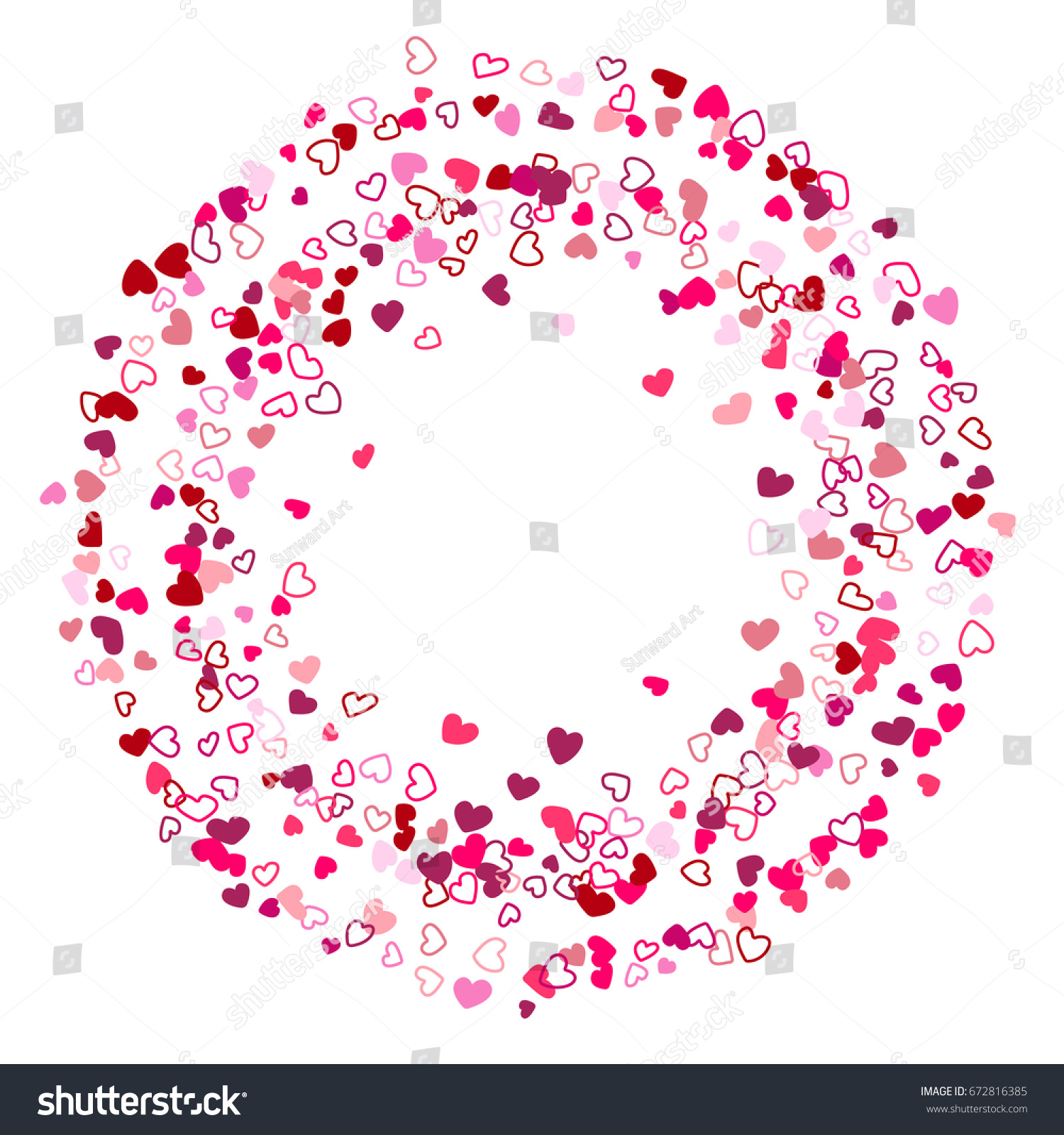 Heart Confetti Round Border Ring Frame For Text Circle Template