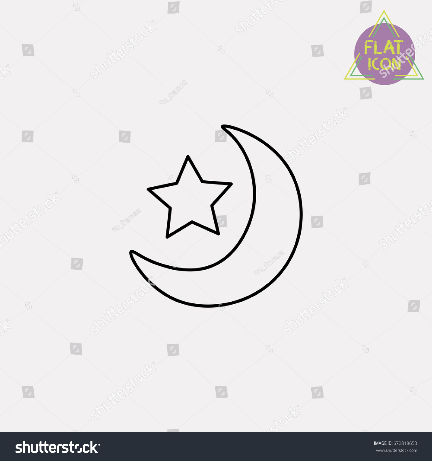 Crescent moon star line icon stock vector 672818650 shutterstock crescent moon with star line icon biocorpaavc Gallery