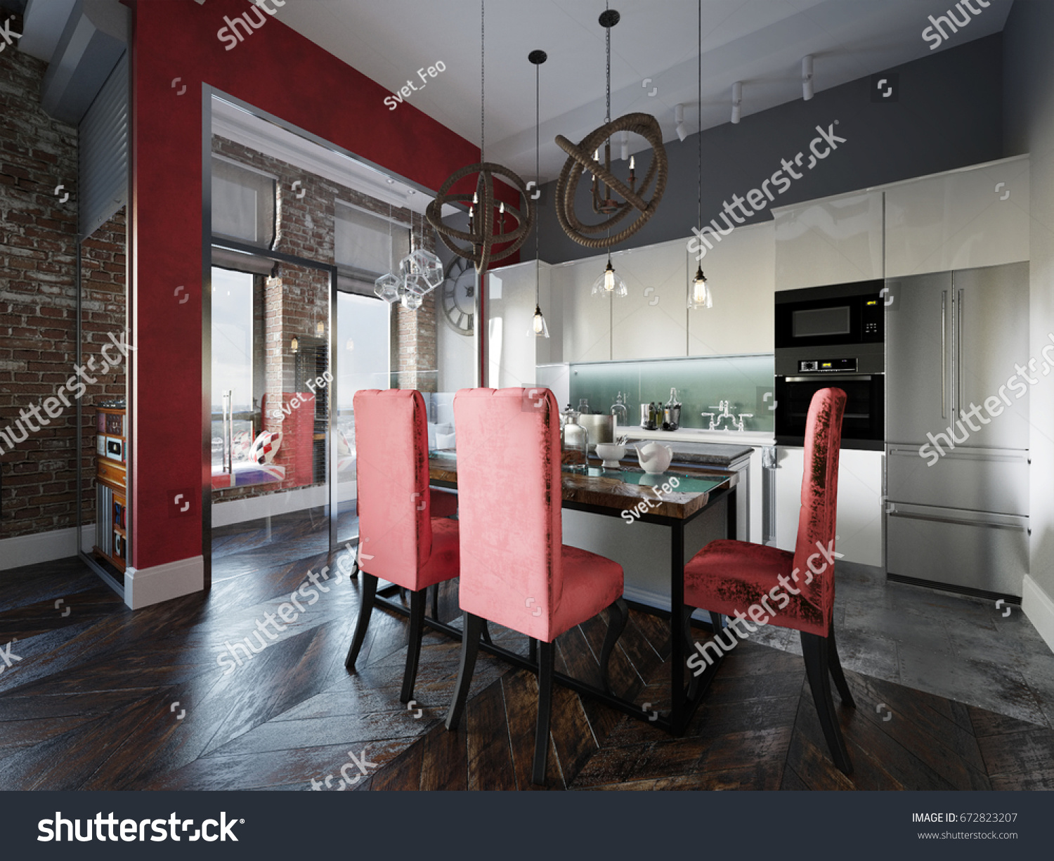 Urban Contemporary Modern Scandinavian Industrial Loft Living room kitchen and dining room Interior Design Penthouse & Urban Contemporary Modern Scandinavian Industrial Loft Stock ...