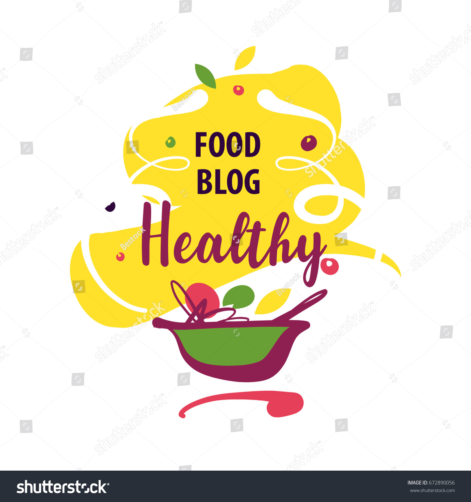 Handdrawn concept vector logo delicious homemade vector de hand drawn concept vector logo for delicious homemade recipe with text healthy food blog forumfinder Image collections
