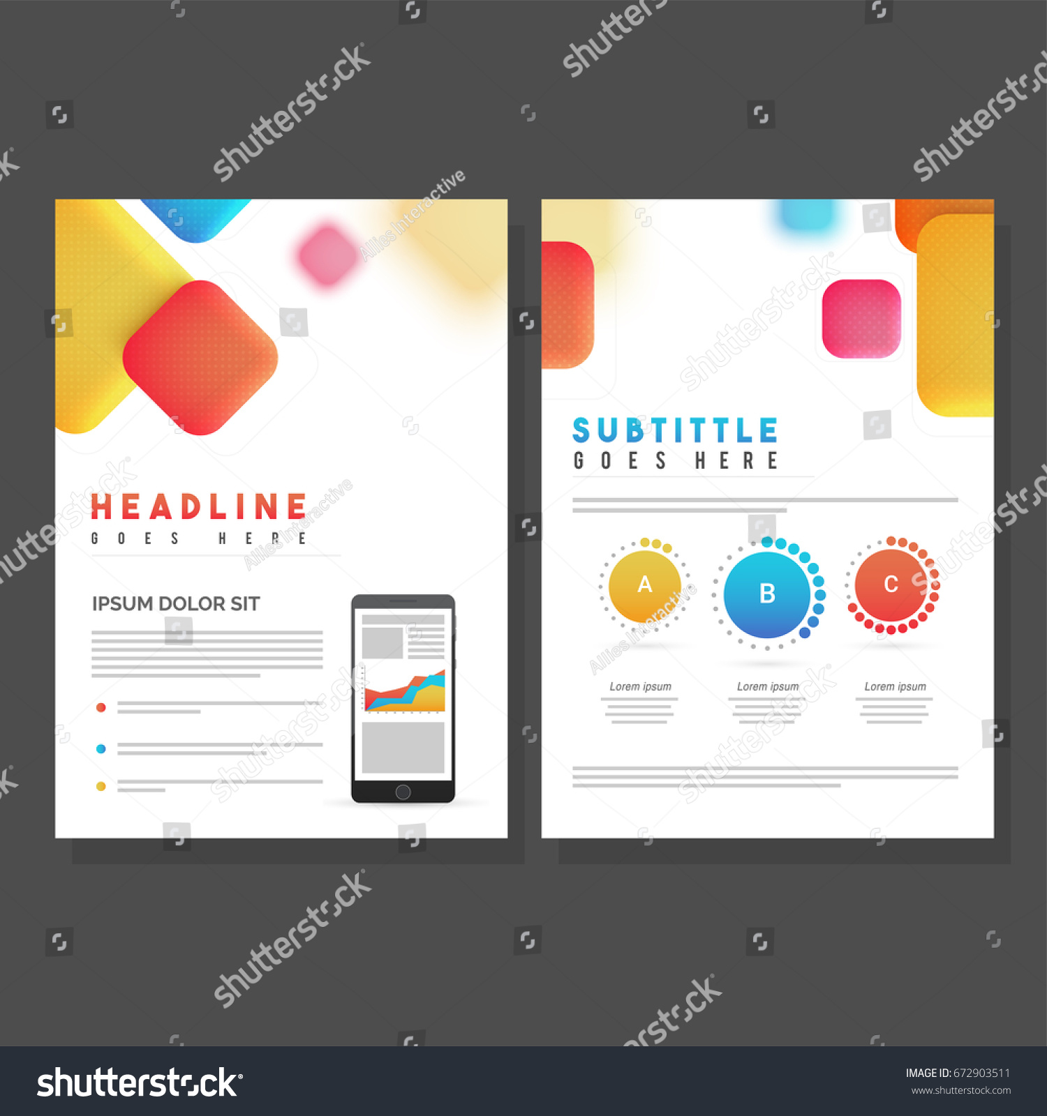 Two Pages Brochure Template Design Colorful Stock Vector Royalty