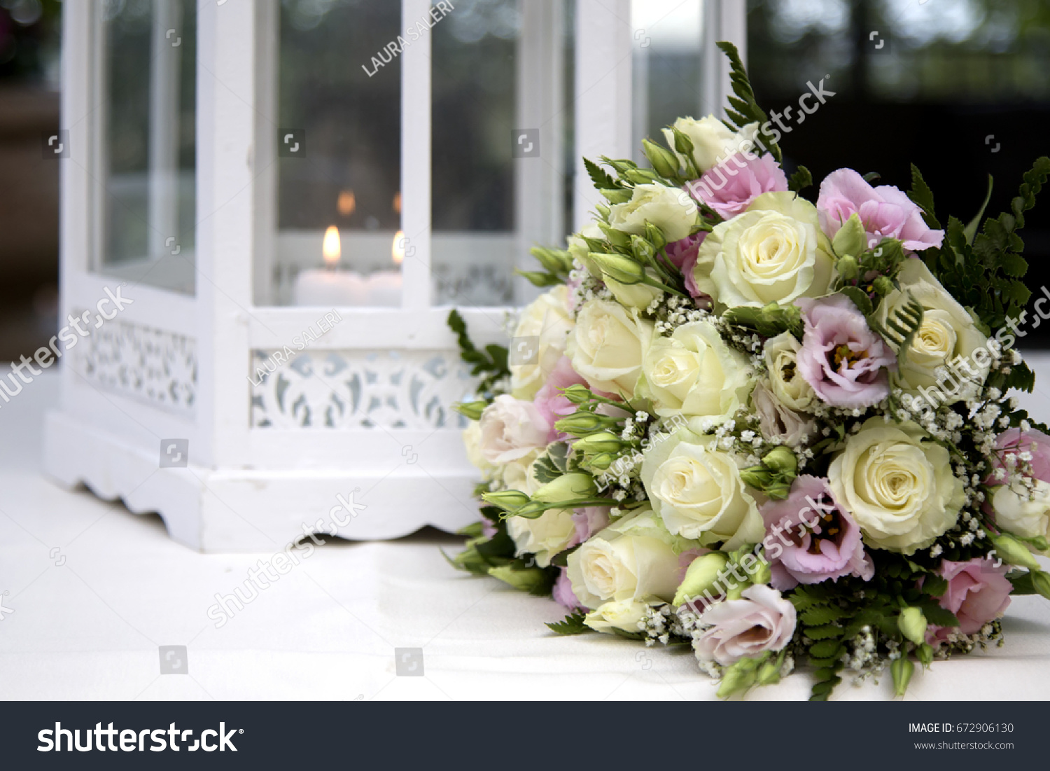 Bunch Fresh Flowers Wedding Near Romantic Stock Photo Royalty Free