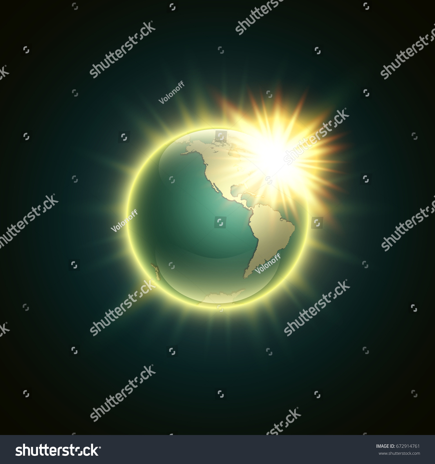 World map rising sun banner globe stock vector 672914761 shutterstock world map with rising sun banner globe icon in space sunlight poster planet earth gumiabroncs Gallery