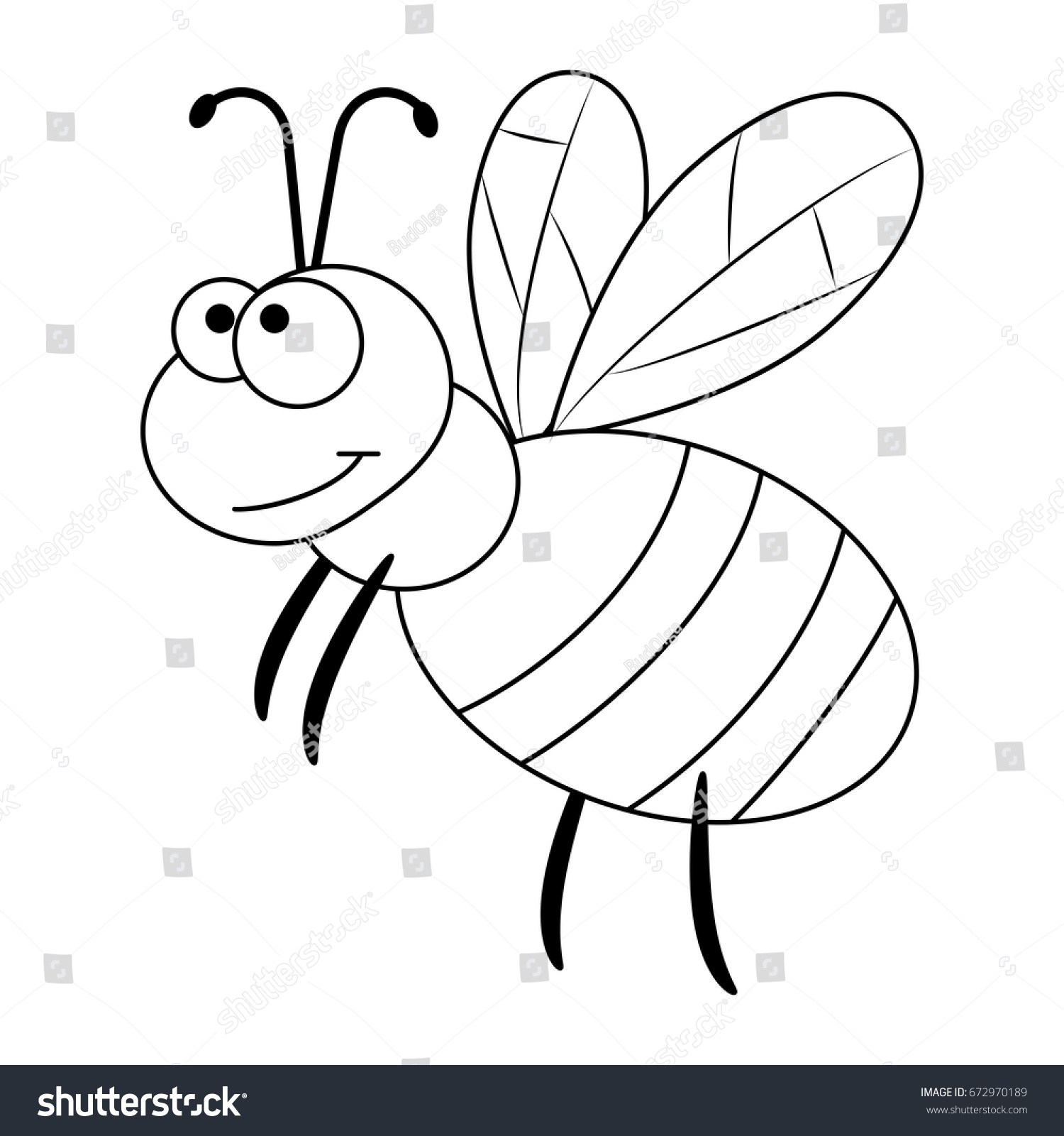 colorless funny cartoon bee vector illustration stock vector