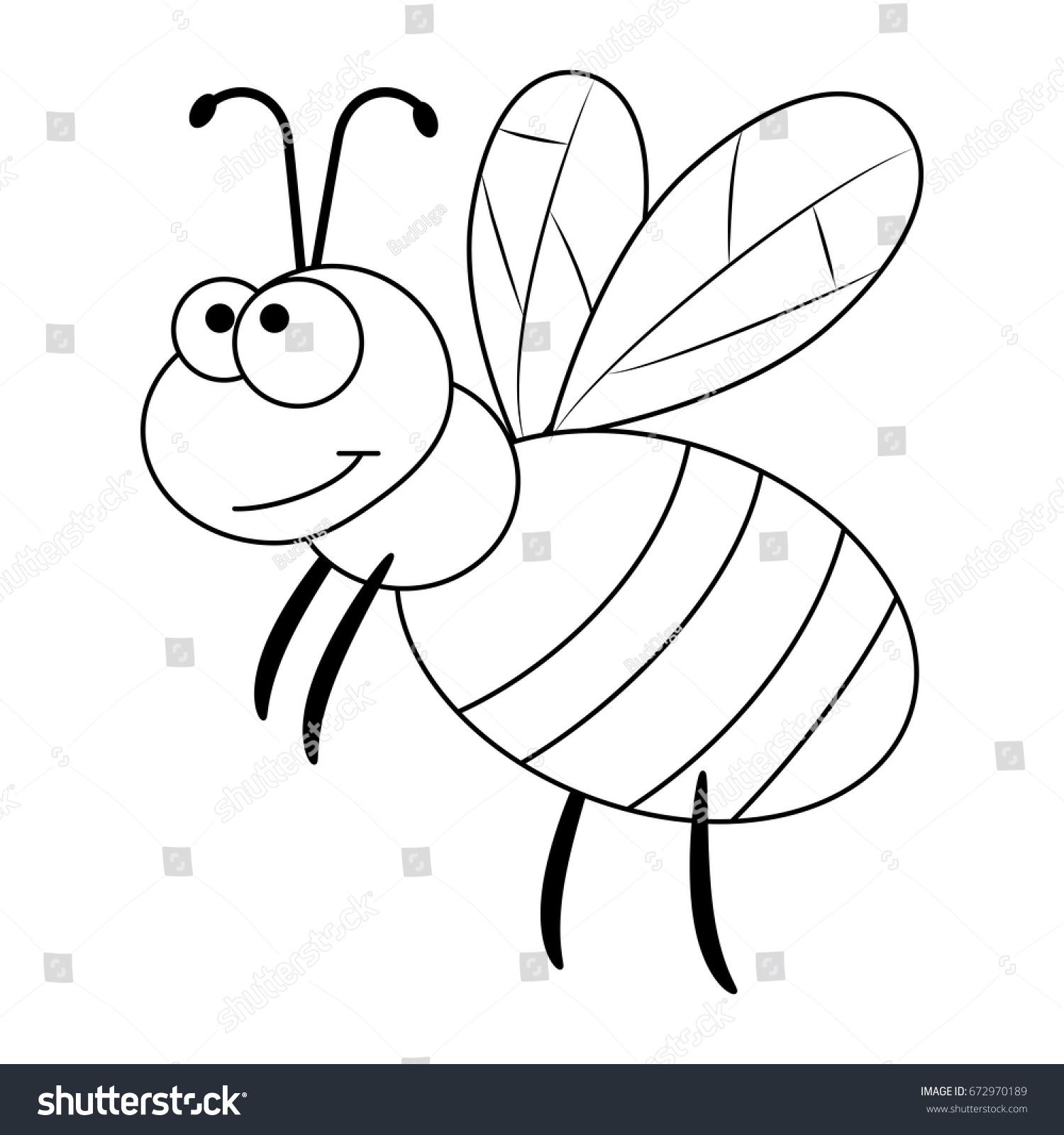 colorless funny cartoon bee vector illustration stock vector