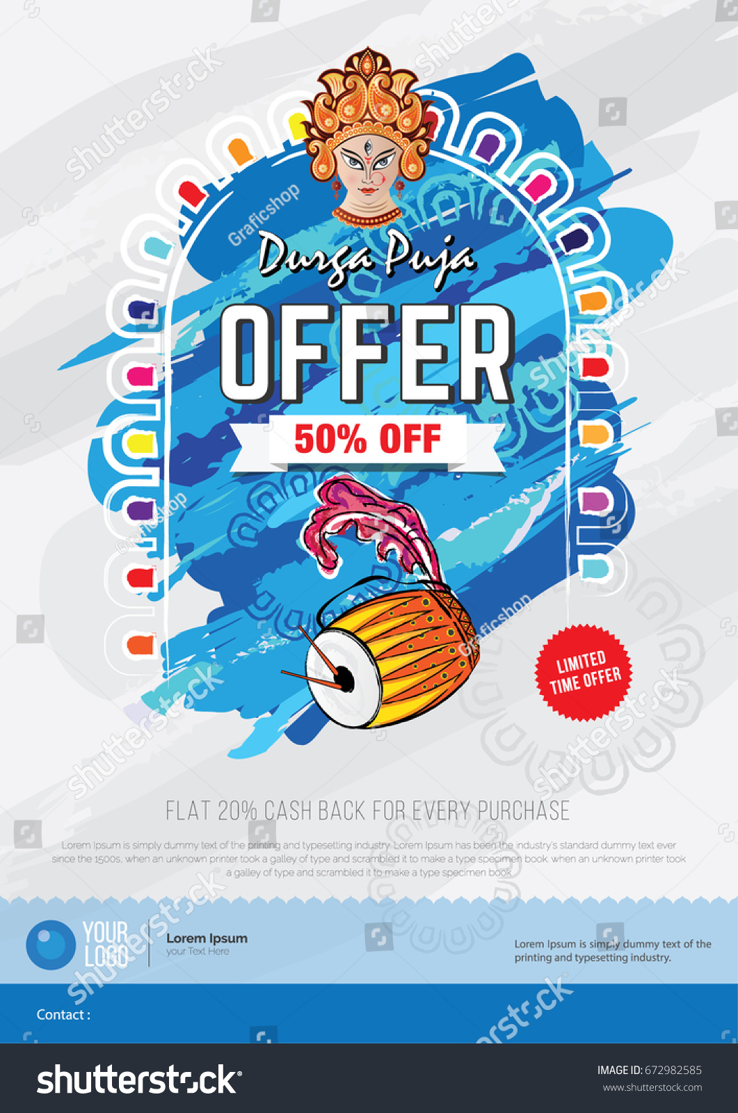 durga puja offer poster design template のベクター画像素材
