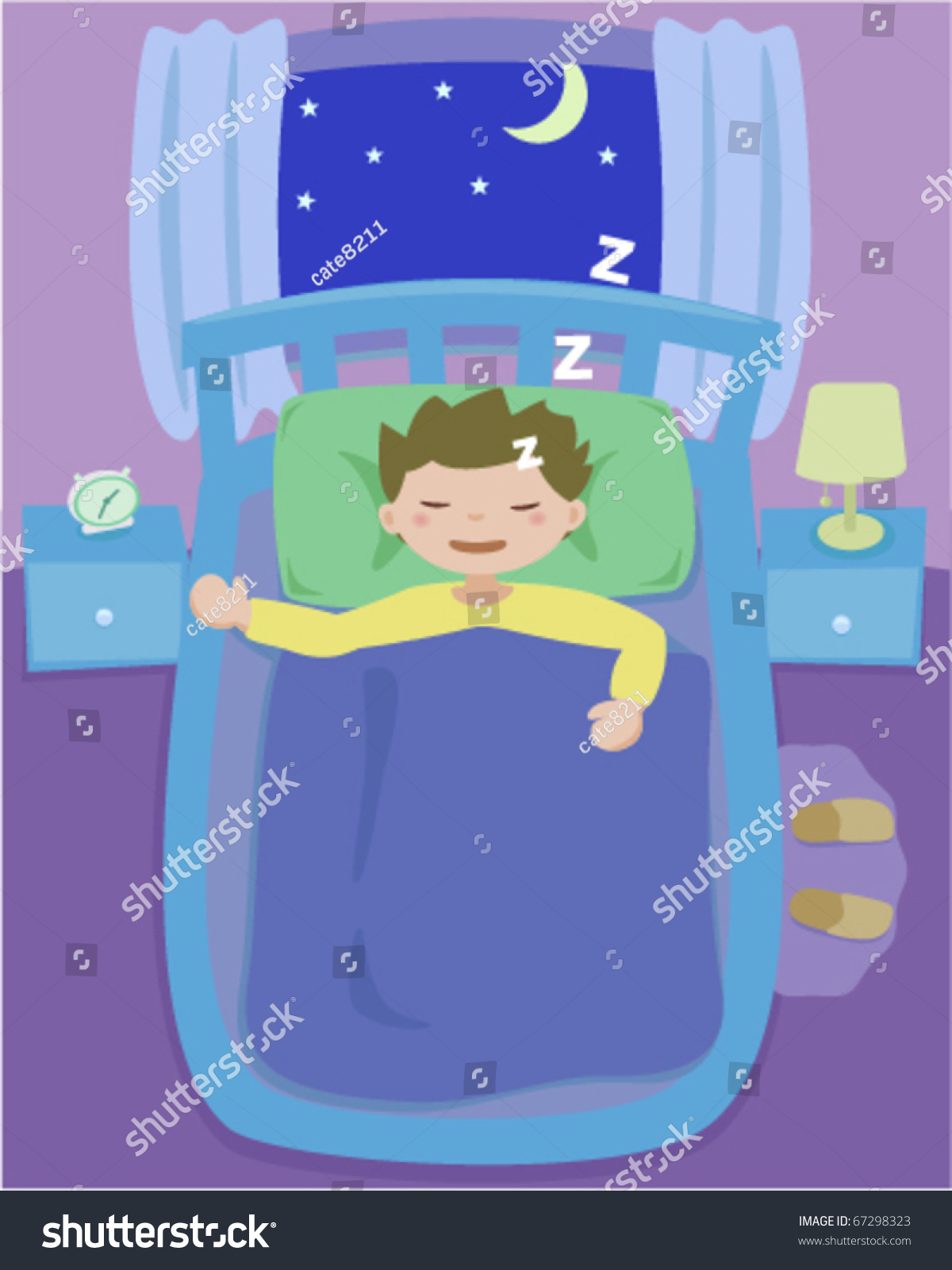 Bedroom at night time - Sleeping Boy On Bed In Bedroom At Night