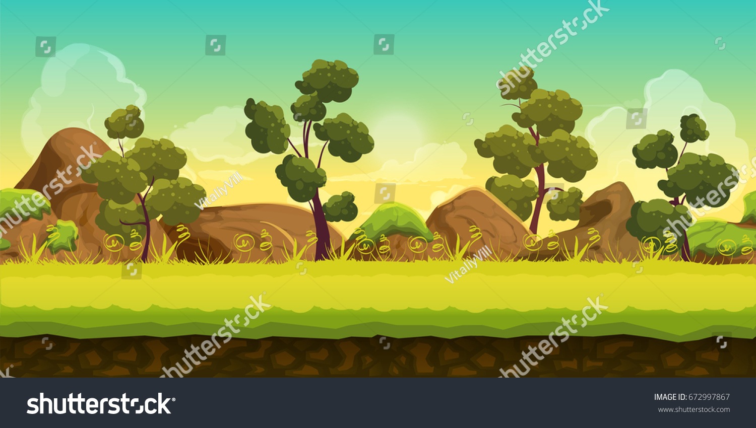 Forest stones 2d game landscape games stock illustration - 2d nature wallpapers ...