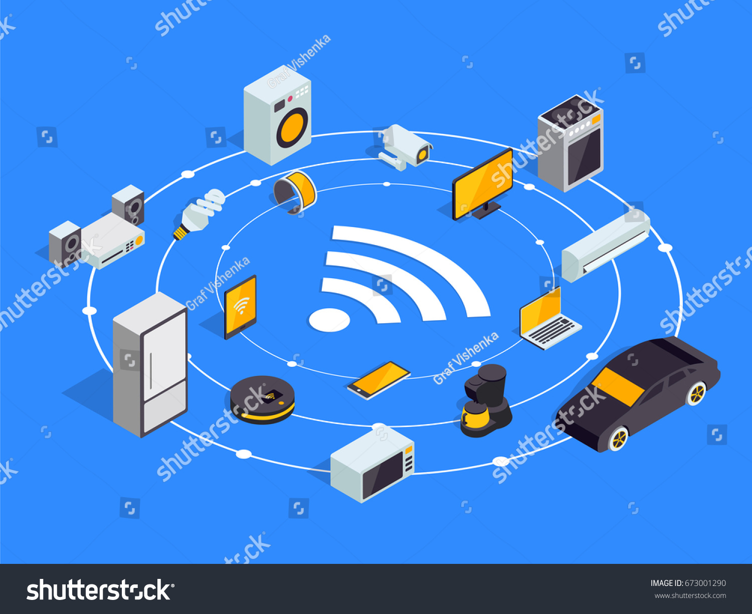 Internet of things layout. IOT online synchronization and connection via  smartphone wireless technology. Smart