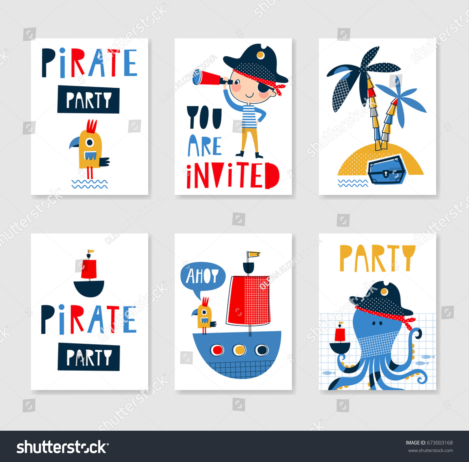 Set Cute Creative Card Templates Pirate Stock Vector (Royalty Free ...