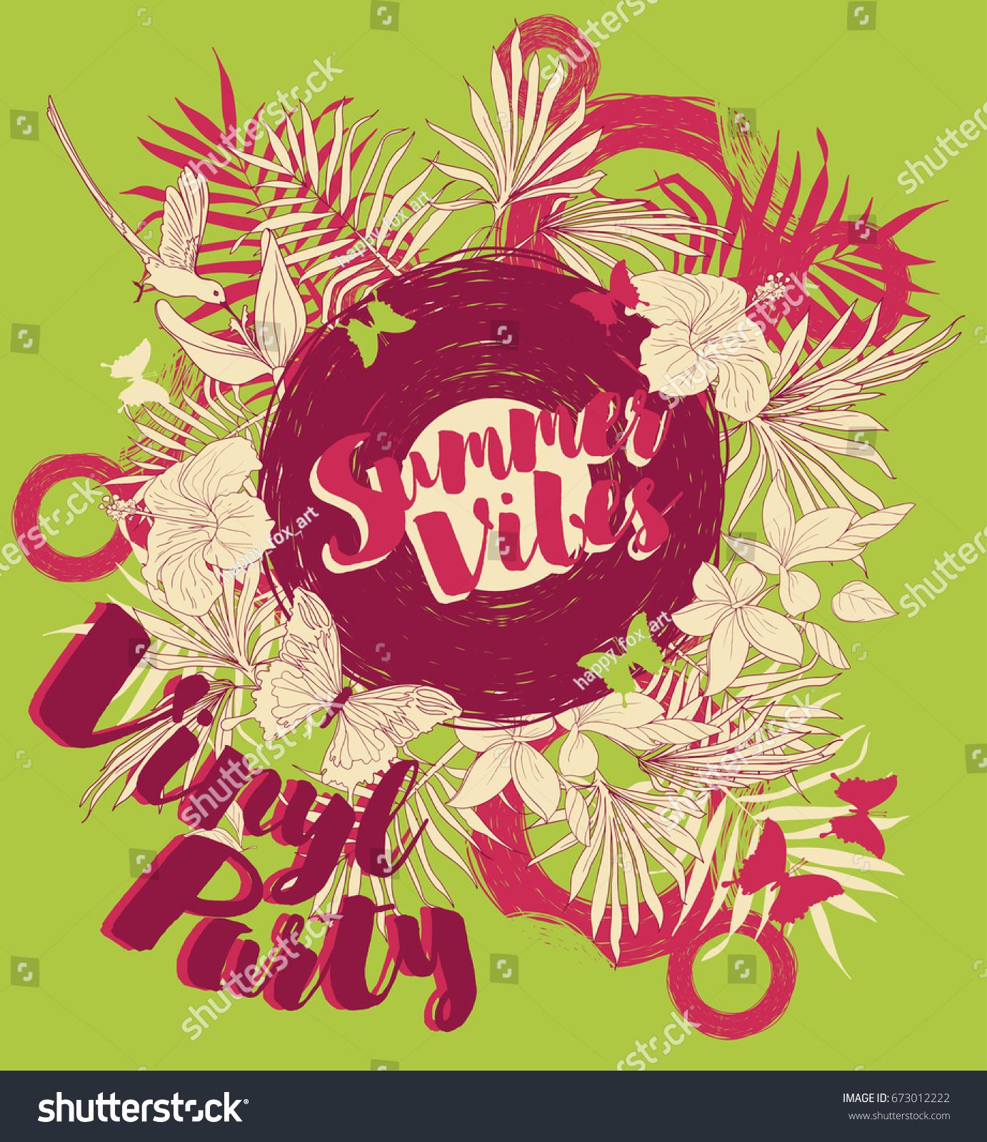 Poster Summer Vinyl Party Disco Style Stock-Vektorgrafik 673012222 ...