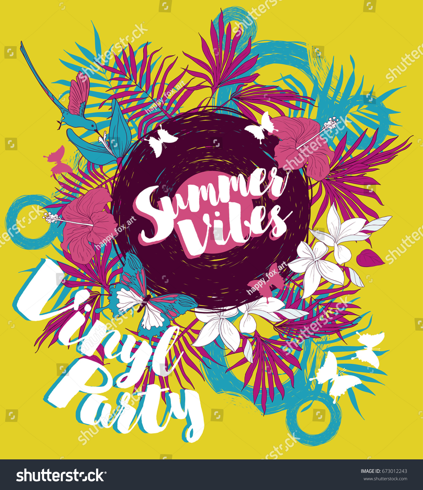 Poster Summer Vinyl Party Disco Style Stock Vector 673012243 ...