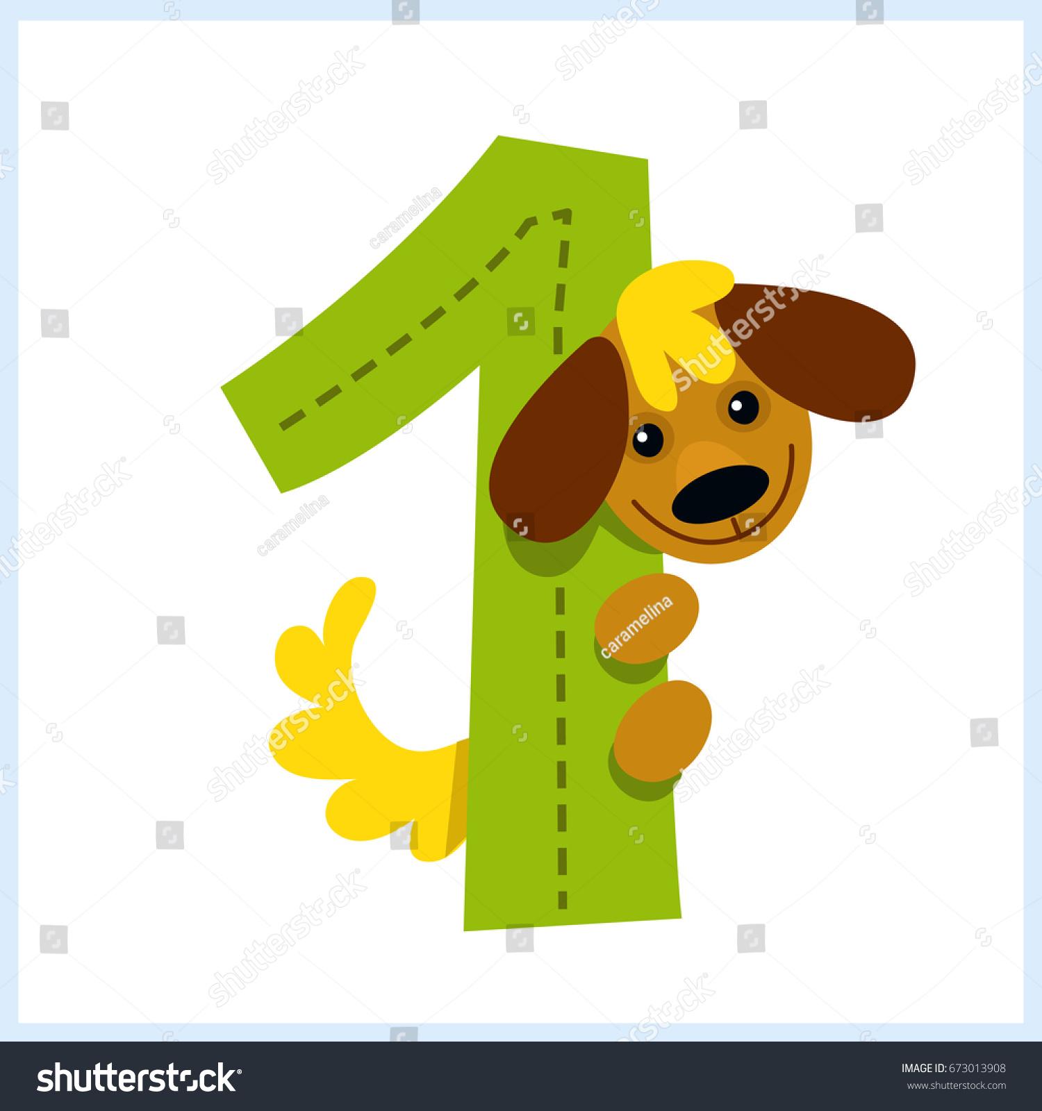 Cartoon Illustration Numbers Animals Number One Stock Photo (Photo ...