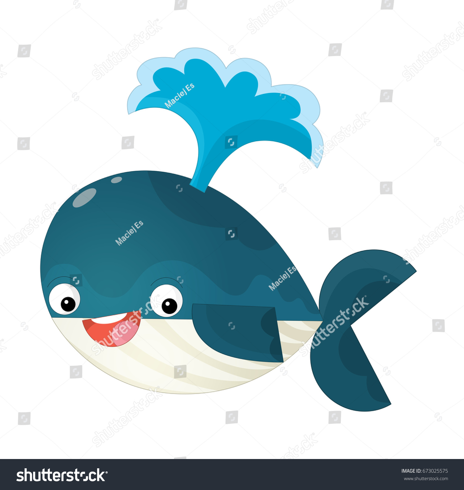 Cute whale in water cartoon isolated illustration stock photography - Cartoon Happy And Funny Sea Whale Spraying Water Illustration For Children