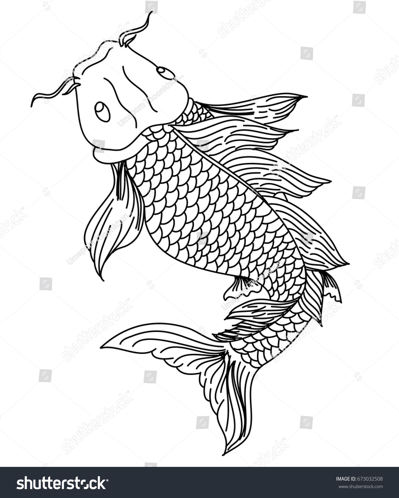 hand drawn line art fish koi stock vector 673032508 shutterstock
