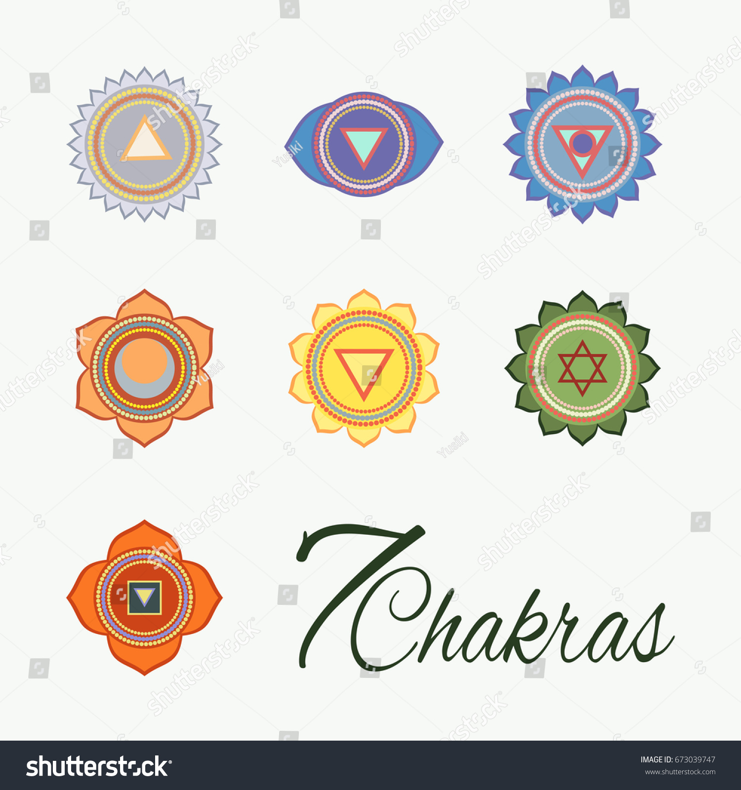 Set Seven Chakras Icons Yogameditation Energy Centers Stock Vector