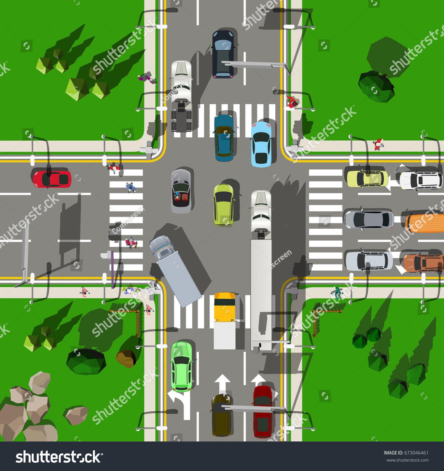 Top View Busy City Intersection Stock Vector 673046461
