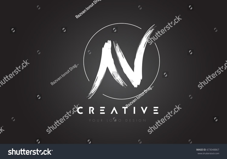 N Brush Letter Logo Design Artistic Handwritten Letters Concept Vector