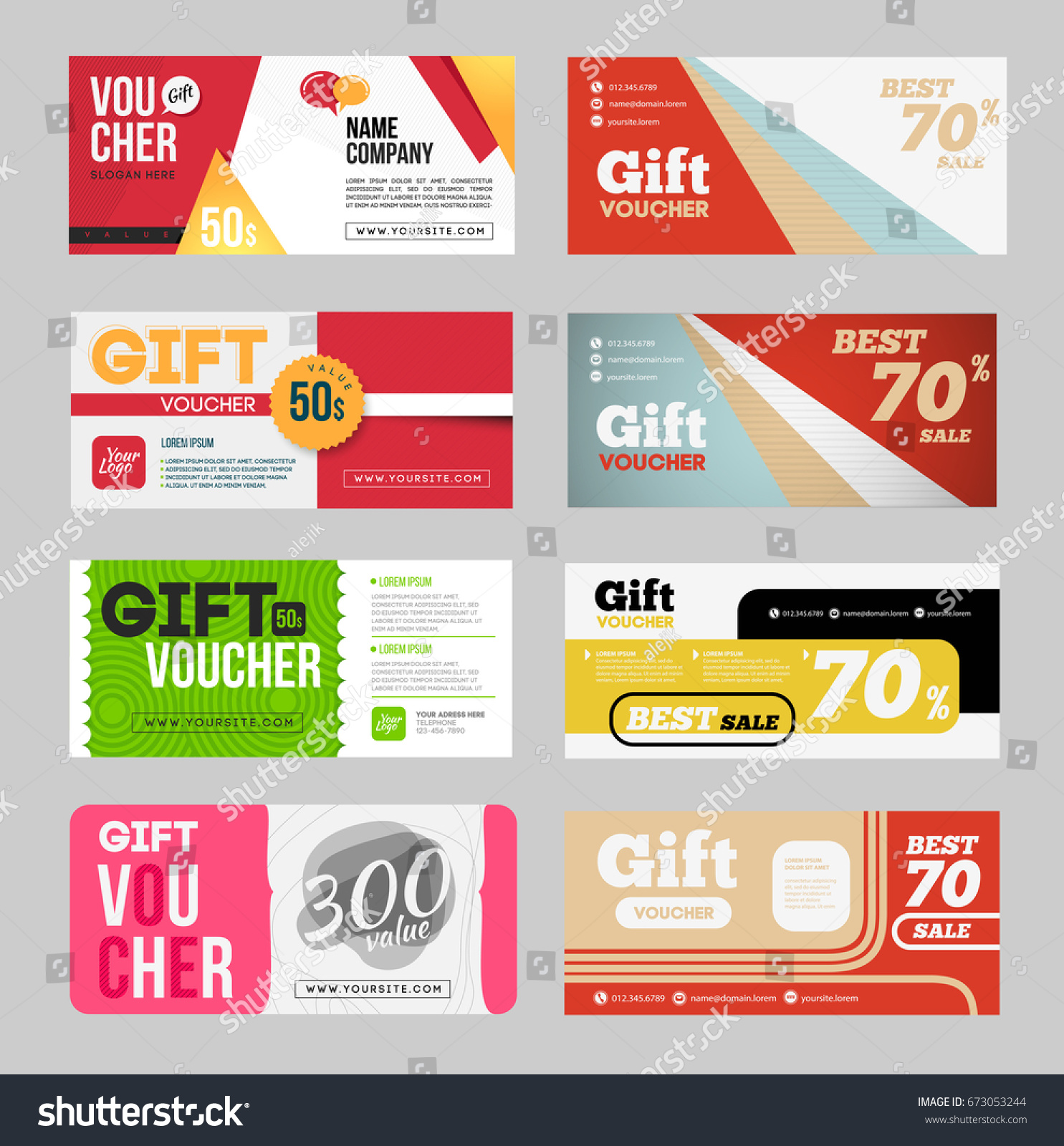 Gift Voucher Certificate Coupon Design Template Stock Illustration ...