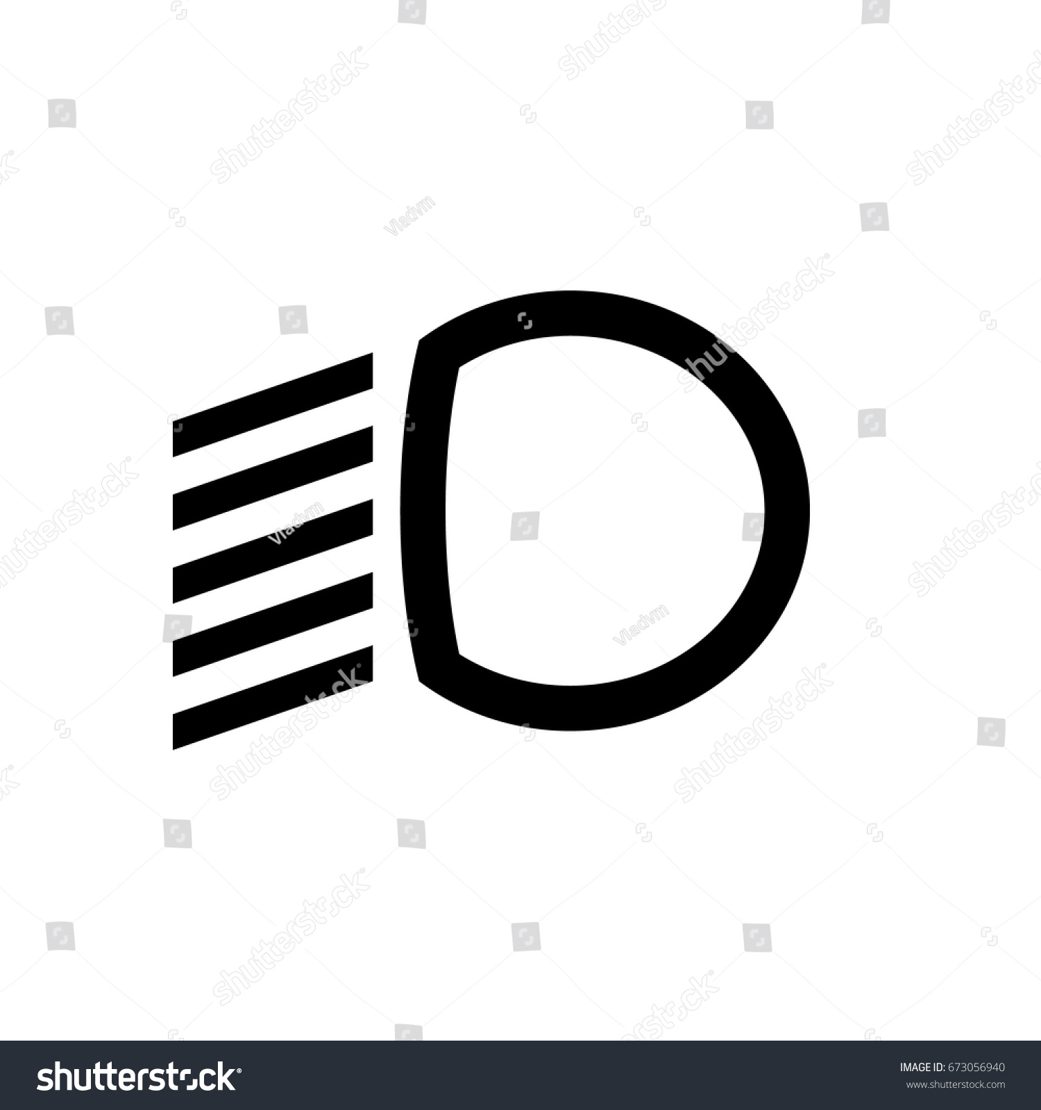 dipped beam dashboard icon car symbol stock vector