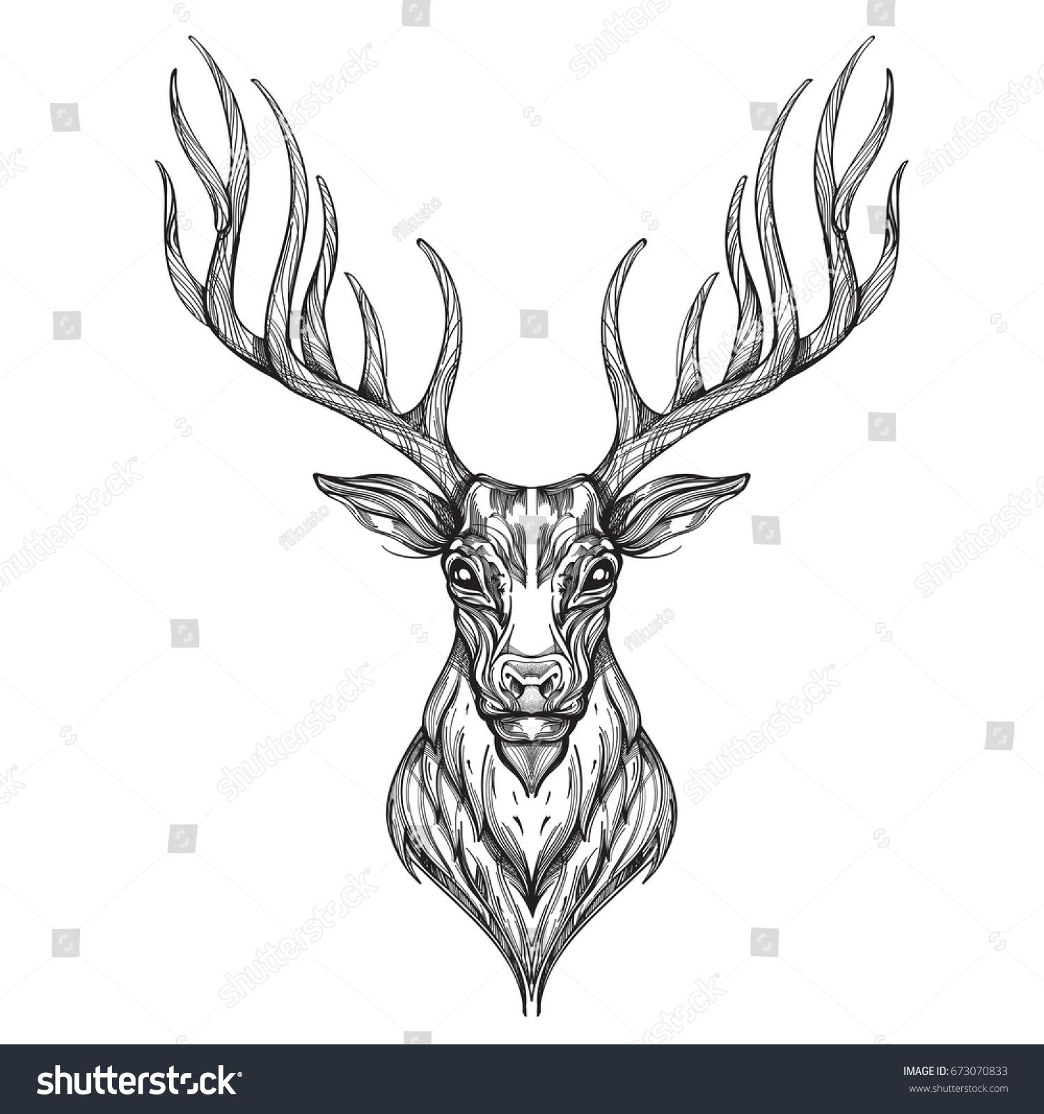 Deer Head Hand Drawn Sketch Style Stock Vector 673070833 ...