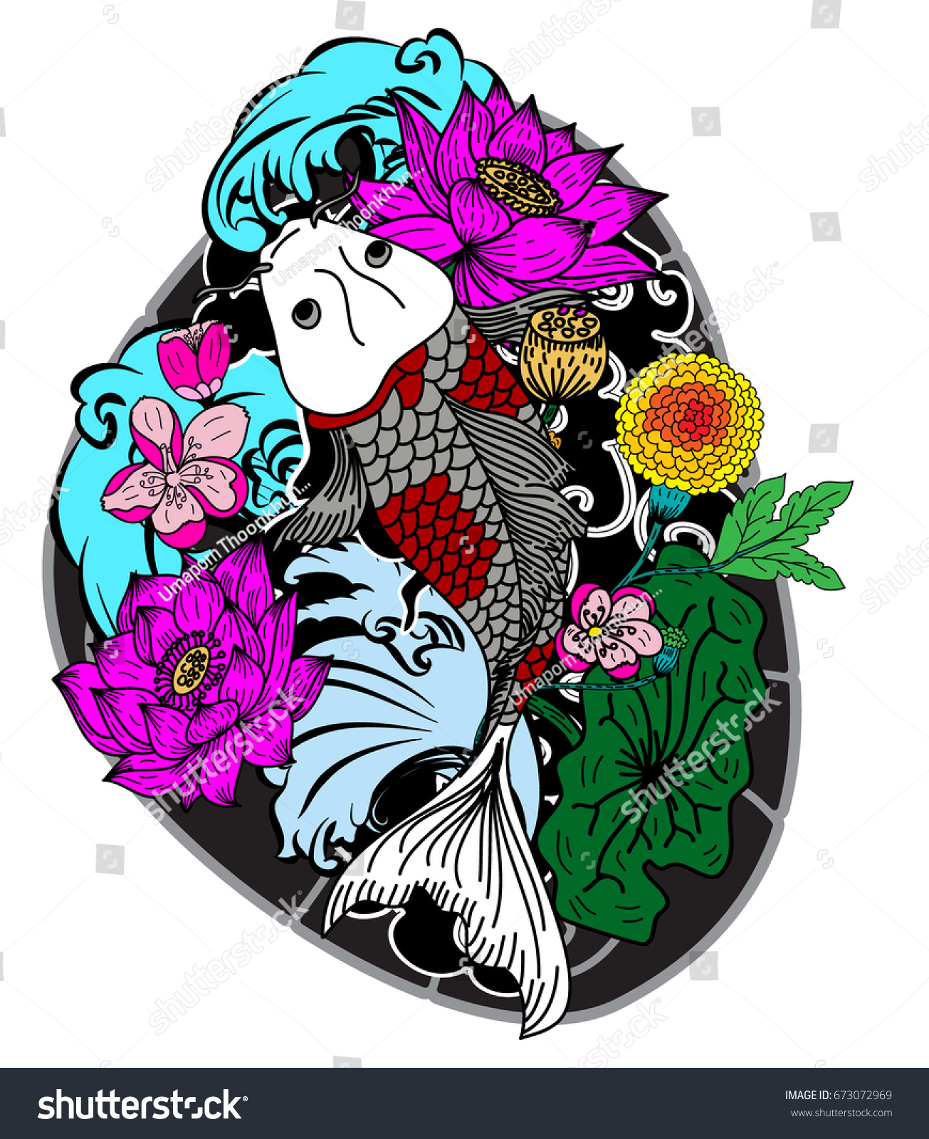 Colorful Koi Carp Fish Vectorjapanese Tattoo With Sakura And Lotus