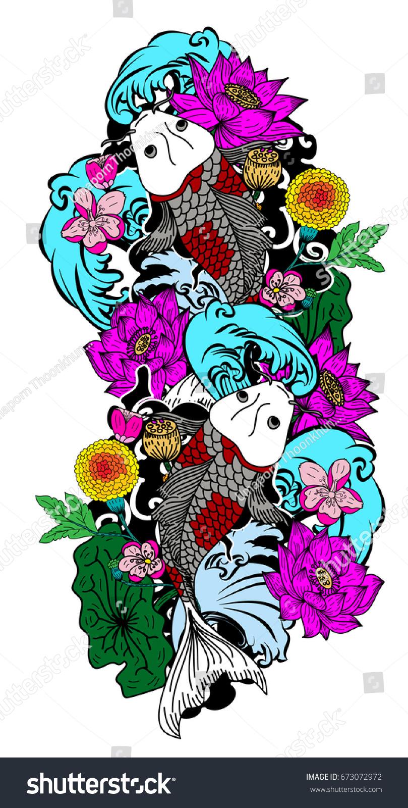 Colorful koi carp fish vectorjapanese tattoo with sakura and lotus colorful koi carp fish vectorjapanese tattoo with sakura and lotus flowerchinese tattoo with marigold flowerchinese fish and wave ez canvas izmirmasajfo