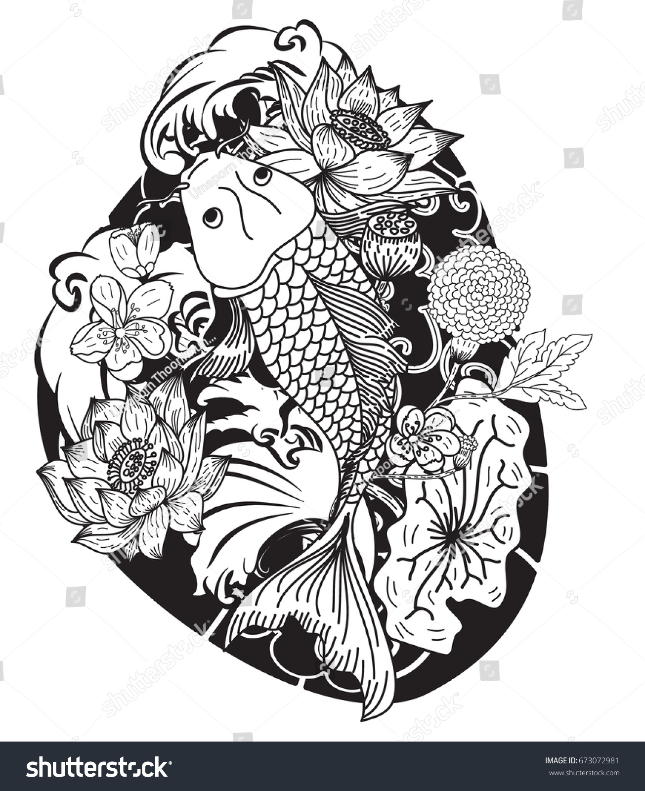 Black White Koi Carp Fish Vector Japanese Stock Vector Royalty Free
