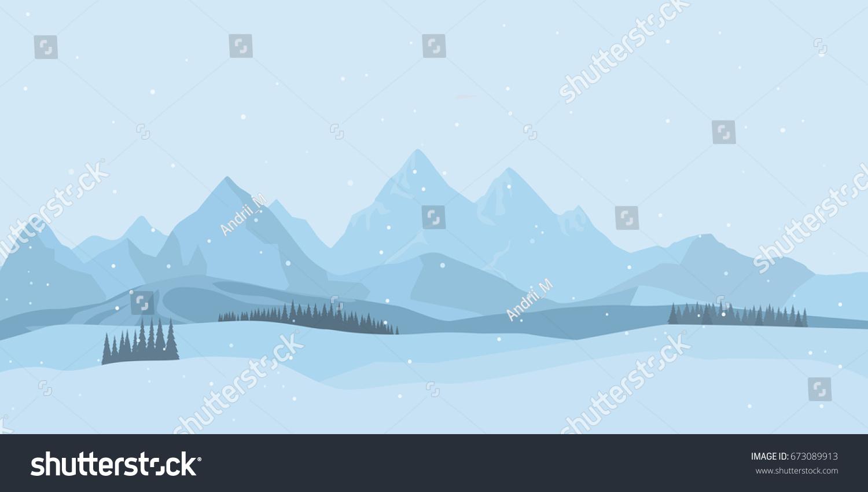 Winter Landscape Background Snow Flat Design Stock Vector Royalty
