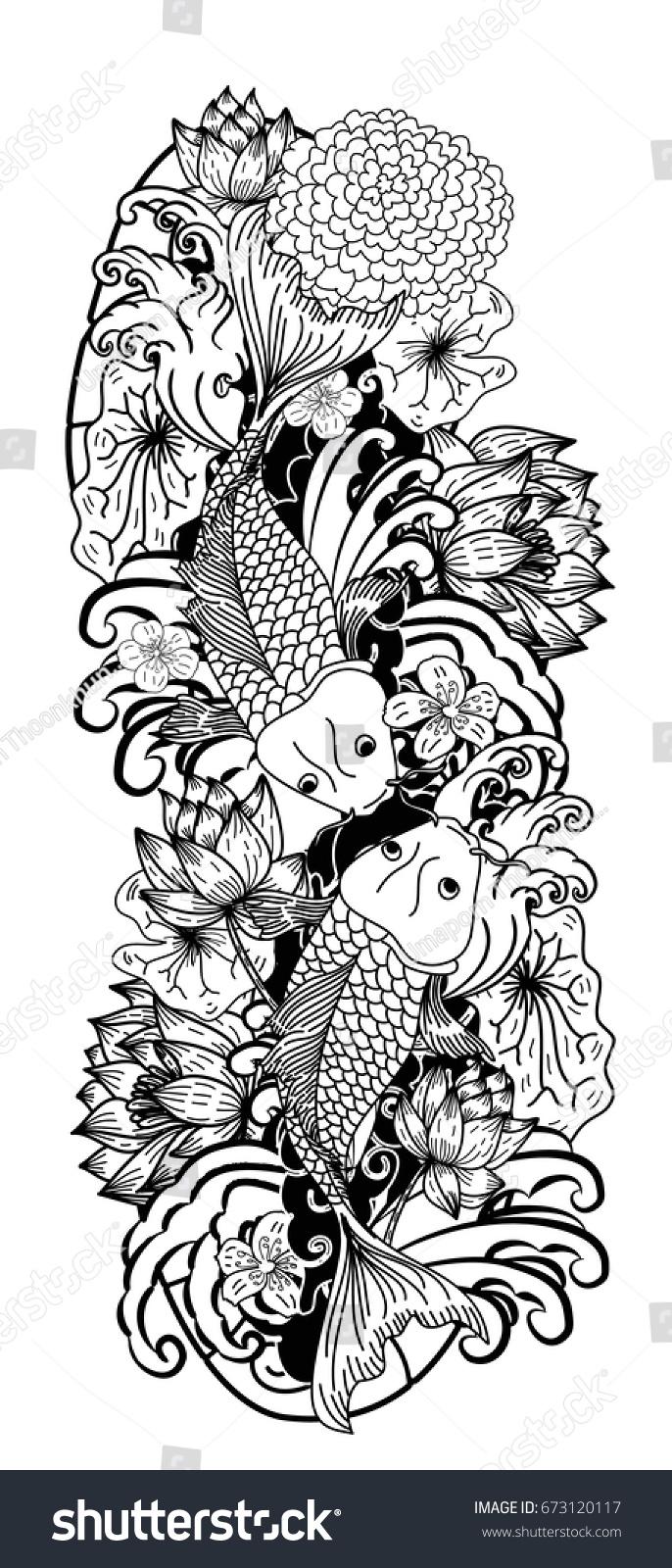 Beautiful line art koi carp tattoo stock vector 673120117 shutterstock beautiful line art koi carp tattoo design black and white koi fish and flower izmirmasajfo